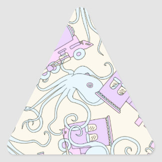 Quirky Octopus/Train Collage Triangle Sticker