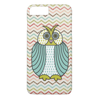 Quirky Owl Colorful Modern Chevron Pattern iPhone 7 Plus Case