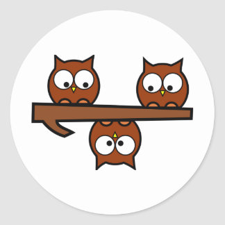 Quirky Owls Classic Round Sticker