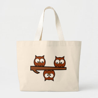 Quirky Owls Large Tote Bag