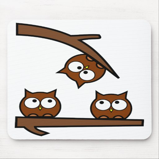 Quirky Owls Out On A Limb Mouse Pad