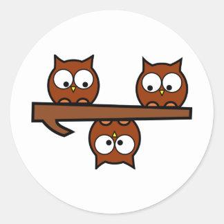 Quirky Owls Round Sticker