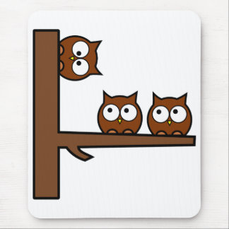 Quirky Owls Round The Bend Mouse Pad