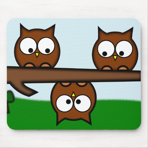 Quirky Owls With Background Mousepads