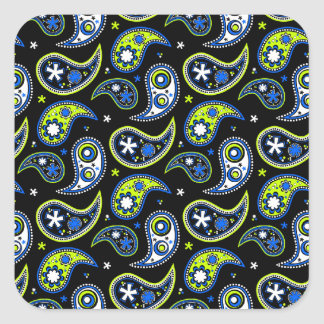 Quirky Paisley Blue and Green Square Stickers
