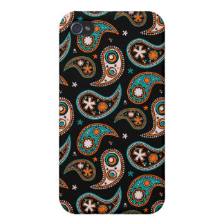 Quirky Paisley Turquoise and Orange iPhone 4 Cases