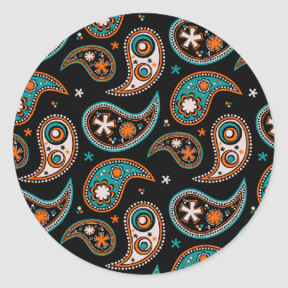 Quirky Paisley Turquoise and Orange Round Sticker