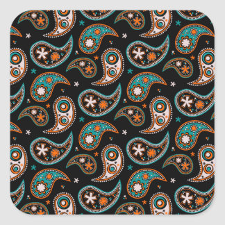 Quirky Paisley Turquoise and Orange Square Stickers