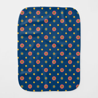 Quirky Polka Dots on Navy Blue Baby Burp Cloth