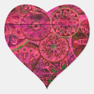 Quirky Retro Shocking Pink Pattern. xo PJ Heart Sticker
