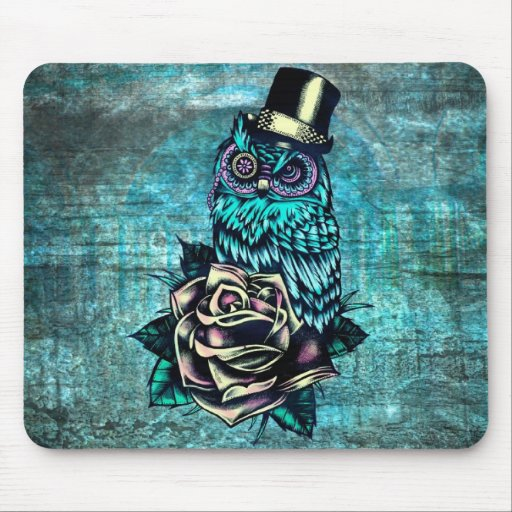 Quirky teal and pink owl with top hat. mousepad