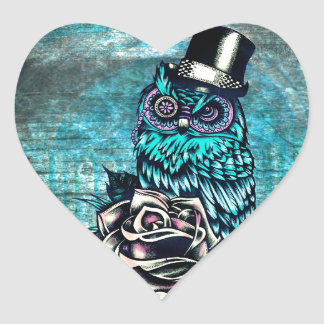 Quirky teal and pink owl with top hat heart sticker