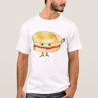 Quirky Victoria Sponge Cake Funny Watercolour Art T-Shirt