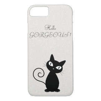Quirky Whimsical Black Cat Glittery-Hello Gorgeous iPhone 8/7 Case