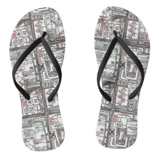 Quirky-Whimsical Geometric Abstract Flip Flops