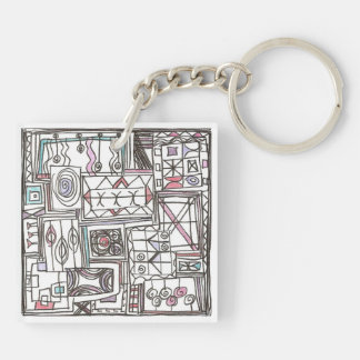 Quirky-Whimsical Geometric Abstract Key Ring