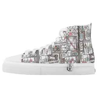 Quirky-Whimsical Geometric Doodle High Tops