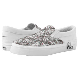 Quirky-Whimsical Geometric Doodle Slip-On Shoes