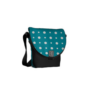 Quirky White Polka Dots on Teal Pattern Messenger Bags