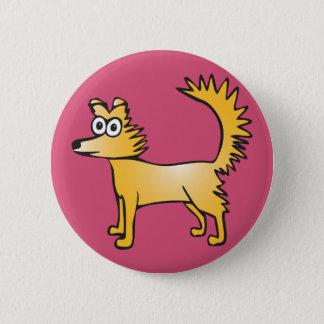 Quirky yellow dog 6 cm round badge