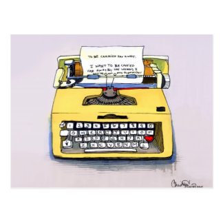 Quirky Yellow Typewriter Postcard