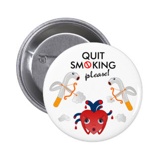 Quit smoking please 6 cm round badge