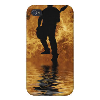 quitarist on moon surface iPhone 4/4S cases
