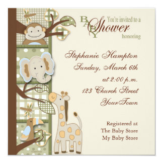 "Quited Monkey Baby Shower Invitation 5.25"" Square Invitation Card"