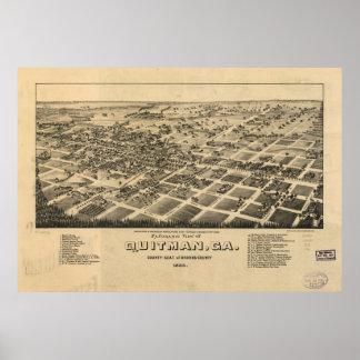 Quitman Georgia 1885 Antique Panoramic Map Print