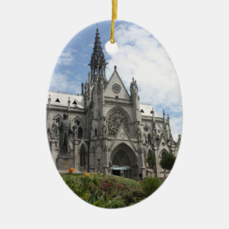 Quito Christmas Double-Sided Oval Ceramic Christmas Ornament
