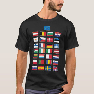 Quiz 28 EU nations flags - answers on back T-Shirt