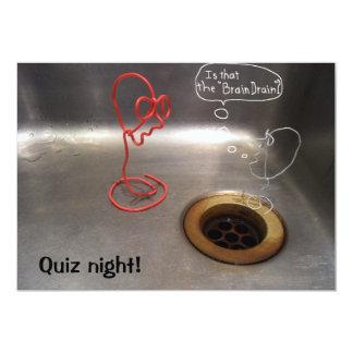 Quiz night brain drain kitchen sink image 13 cm x 18 cm invitation card