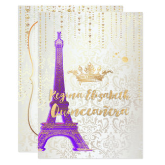 Quniceanera/Eiffel Tower/Parisian Princess/Purple Card