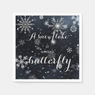 "Quote ""A snowflake is winter's butterfly"" Paper Napkins"