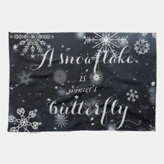 "Quote ""A snowflake is winter's butterfly"" Tea Towel"