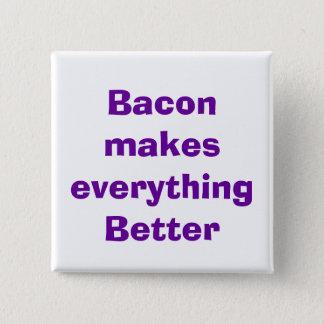 quote, bacon 15 cm square badge