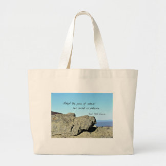 Quote by Emerson: Adopt the pace of nature.... Jumbo Tote Bag