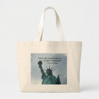 Quote by George Washington about liberty. Jumbo Tote Bag