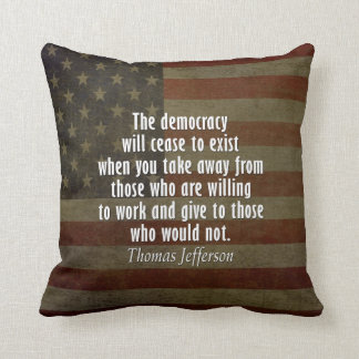 Quote on Democracy, Socialism and Taxes Throw Cushion