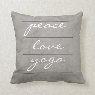 quote pillow peace love yoga on gray