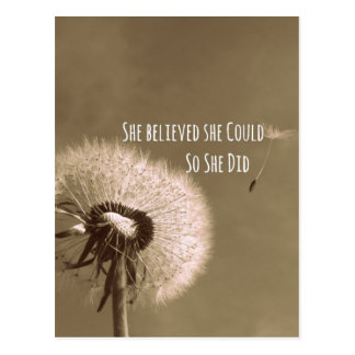 Quote: She believed she could so she Did Postcard