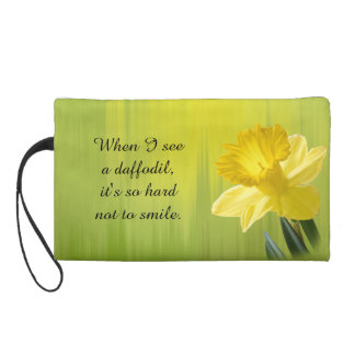 """Quote:  """"When I see a daffodil ...""""  Flower Pics Wristlet Purse"""