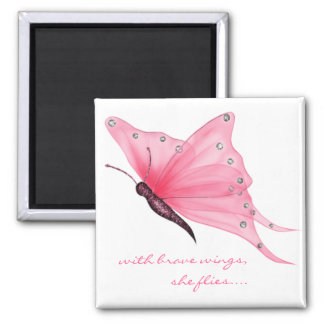 QUOTE; with brave wings... Square Magnet
