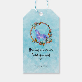 Quote with Howling Wolf in a Boho Wreath Gift Tags
