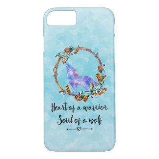 Quote with Howling Wolf in a Boho Wreath iPhone 8/7 Case