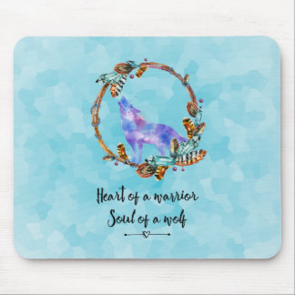 Quote with Howling Wolf in a Boho Wreath Mouse Mat