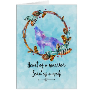 Quote with Howling Wolf in a Boho Wreath Thank You Card