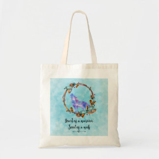 Quote with Howling Wolf in a Boho Wreath Tote Bag