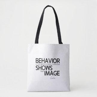 QUOTES: Goethe: Behavior, image Tote Bag