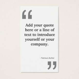QUOTES in GRAY on White Business Card